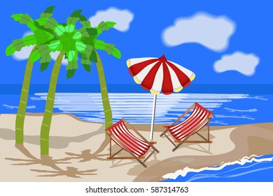 Summer beach. against the backdrop of the sea. Palm trees, sky, sun lounger, umbrella. Summer travel poster. Vacation in paradise concept. Vector