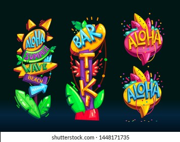 Summer beach aloha and tiki bar pillar vector color illustrations set