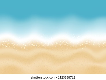 Summer beach background with sand and water texture