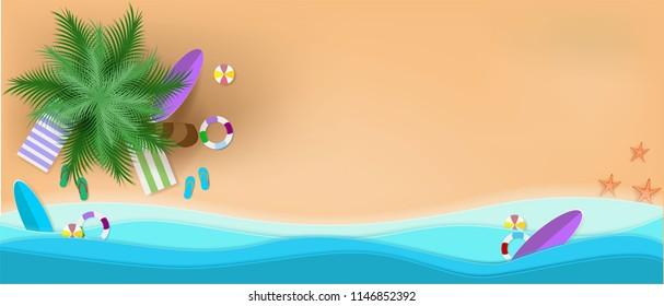 summer, beach, background, vector, paper, art, sea, illustration, cut, pastel, top, concept, view, origami, sand, vacation, design, craft, element, umbrella, relax, sun, surfboard, style, travel, grap
