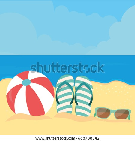 78053b63053ccb Summer Beach Ball Flip Flop Sunglasses Stock Vector (Royalty Free ...