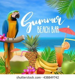 Summer beach bar menu vector illustration. Sea, blue sky,  cocktails, pineapple, fruits, palm leaves, parrot.Tropical background with lettering.