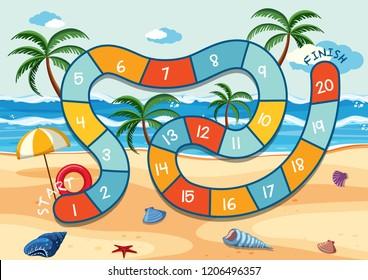 Summer beach board game template illustration