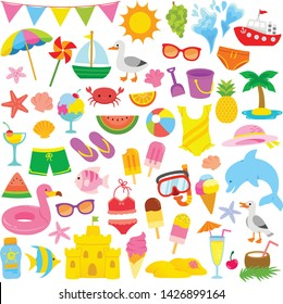 Summer and beach clip art set with cute illustrations for kids