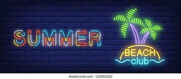 Summer beach club neon sign. Tropical island with palms and sea. Vector illustration in neon style for travel or vacation