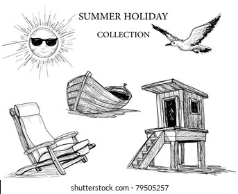 Summer beach collection of icons