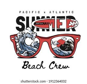 summer beach crew slogan with wave splash through sunglasses illustration