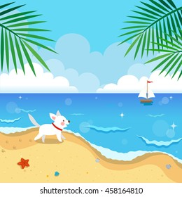 Summer beach with dog and yacht