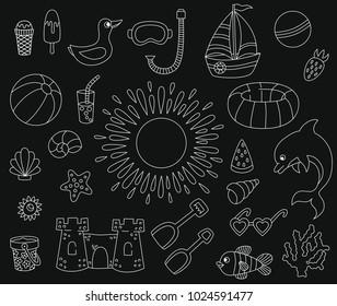 Summer beach doodle line icons cute vector set