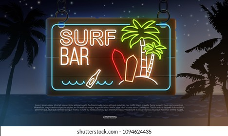 summer beach evening background place for tex neon bar surf