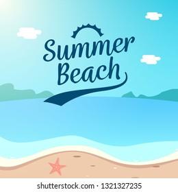Summer Beach Holiday background design. beach scenery vector illustration.