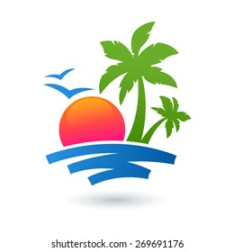 Summer beach illustration, abstract sun and palm tree on seaside. Vector logo design template. Concept for travel agency, tropical resort, beach hotel, spa.