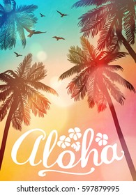 Summer beach illustration Aloha. Inspiration card for wedding, date, birthday, tropical party invitation