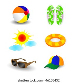 Summer beach items such as beach ball, sun and fine weather, sunglasses, sandal, inner tube and hat/cap. Necessities for the coming hot summer!