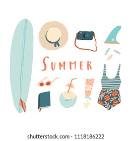 Summer beach kit of objects. Surfing Illustration in vector. Poster, tee, card design.