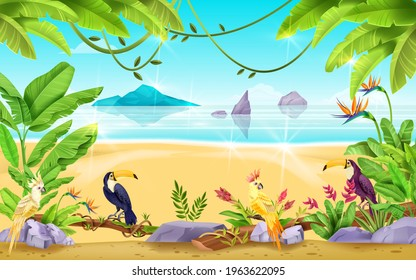 Summer beach landscape, tropical exotic vector background, sea, sand, rocks, banana and palm leaf. Seascape horizontal view, vacation paradise resort banner, ocean. Nature beach landscape, sky, island