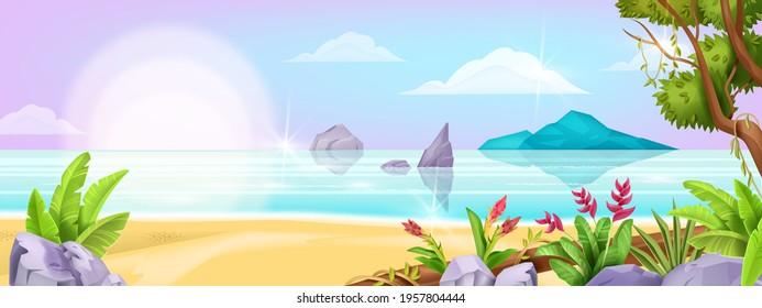 Summer beach landscape, vector ocean exotic background, tree foliage, sea, tropical island, sand, rock. Paradise idyllic nature Hawaii seascape, resort holiday view. Beach landscape shore illustration