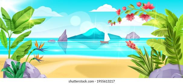 Summer beach landscape, vector sea background, sand, ocean surf, island shore, banana leaf, blue sky. Paradise exotic seaside, tropical flowers, vacation season banner. Summer beach resort relax view