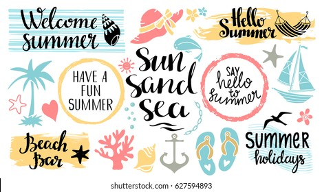 Summer beach logo, icons, signs. Hand drawn isolated on white background. Handwritten font, lettering