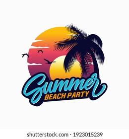 summer beach logo vector illustration