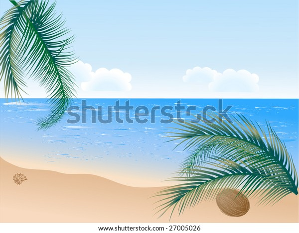 Summer beach with palms - vector illustration