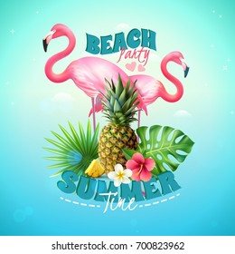 Summer beach party background with pineapple tropical plants and flamingoes realistic vector illustration
