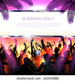 Summer Beach party with dance silhouettes and sunset - vector