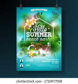 Summer Beach Party Flyer Design with flower, lifebelt and sunglasses on blue background. Vector Summer Design template with nature floral elements, tropical plants and typograpy letter on blue cloudy
