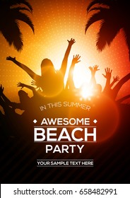 Summer Beach Party Flyer Editable Vector Template | A4 Size Design Concept with Dancing Young People Silhouette Below Palm Trees at Sunset