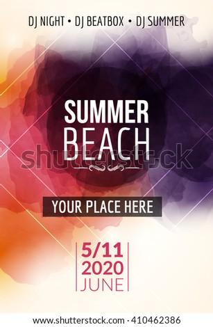 summer beach party flyer template design stock vector royalty free