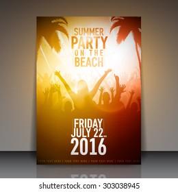 Summer Beach Party Flyer - Vector Template Design