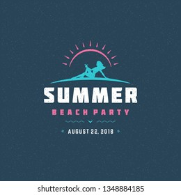 Summer beach party label or badge typography slogan design for poster or greeting card vector illustration. Woman on beach symbol.