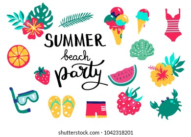 Summer beach party lettering. Set hand drawn icons, signs and banners. Bright summertime poster. Collection Summer hand drawn elements for summer holiday and party. Vector illustration.
