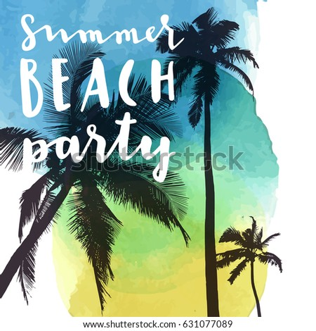 11f5b9dac628 Royalty-free stock vector images ID  631077089. Summer Beach Party. Modern  calligraphic T-shirt design with flat palm trees on bright colorful  watercolor ...