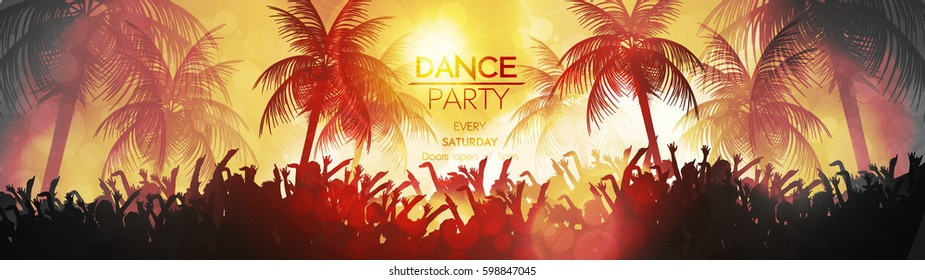 Summer Beach Party Panorama - Vector Illustration