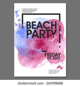 Summer Beach Party Vector Flyer Template - EPS10 Design