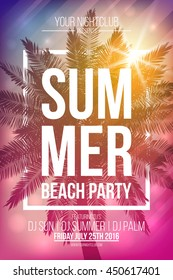 Summer beach party vector flyer template with palm and frame. Vector background for banner, poster, flyer, card, postcard, cover, brochure.