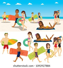 Summer beach people collection with sea background composition and isolated characters