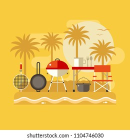 Summer beach picnic landscape. Family barbecue on sea shore. Tropical beach bbq party banner with grilling tools.