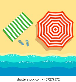 Summer beach with red beach umbrella, towel and shoes near the sea. Sleek design. Vector illustration