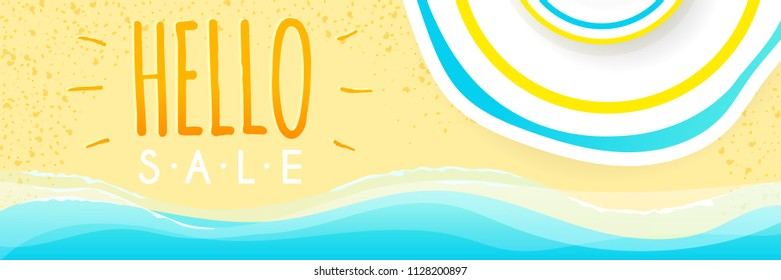 Summer beach sale vector design with top view flat sunlight protect hat for summer shop blackground and sale discount voucher