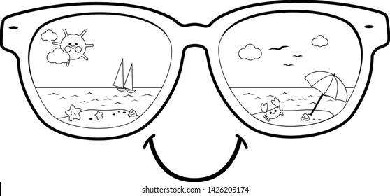Summer beach scene reflected in sunglasses. Vector black and white coloring page.