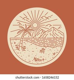 Summer beach sea line badge patch pin graphic illustration vector art t-shirt design