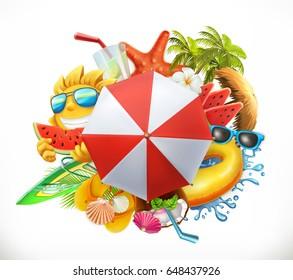 Summer beach set, 3d vector icon