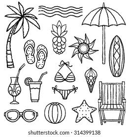 Summer beach set. Palm tree, sun, umbrella, flip flops sandal, surfboard, deck chair, swimsuit, ice cream cone, cocktail, pineapple, sunglasses, ball, flip flop sandals, starfish