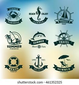 summer and beach set of vector emblems / summer emblems