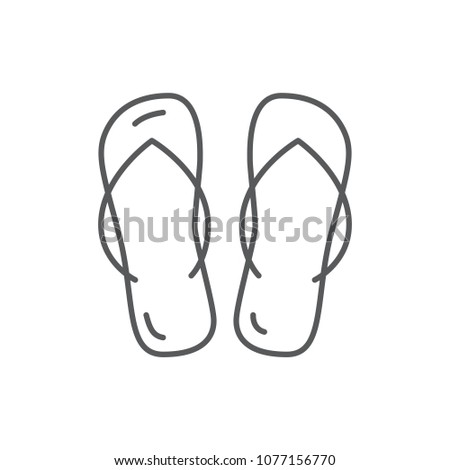 eee4d923b Summer beach shoes flip-flops editable icon isolated on white background.  Pixel perfect element