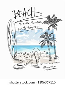 summer beach slogan with beach surf sandals illustratiion