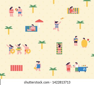 Summer beach with small people pattern. flat design style minimal vector illustration
