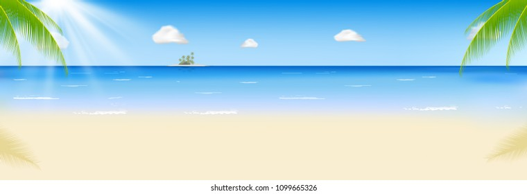 Summer beach with a sun, palm trees and cloudless sky. Vector illustration. Template for your design. EPS10.